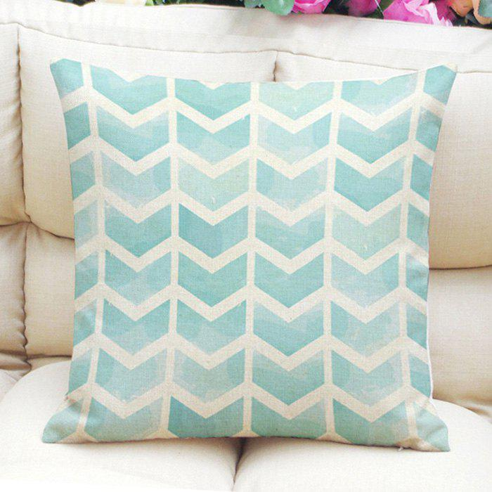 Fresh Style Arrows Pattern Square Shape Flax Pillowcase (Without Pillow Inner) - MINT GREEN