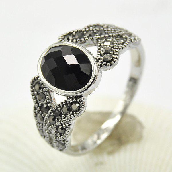 Rhinestone Faux Agate Crossed Ring - SILVER ONE-SIZE