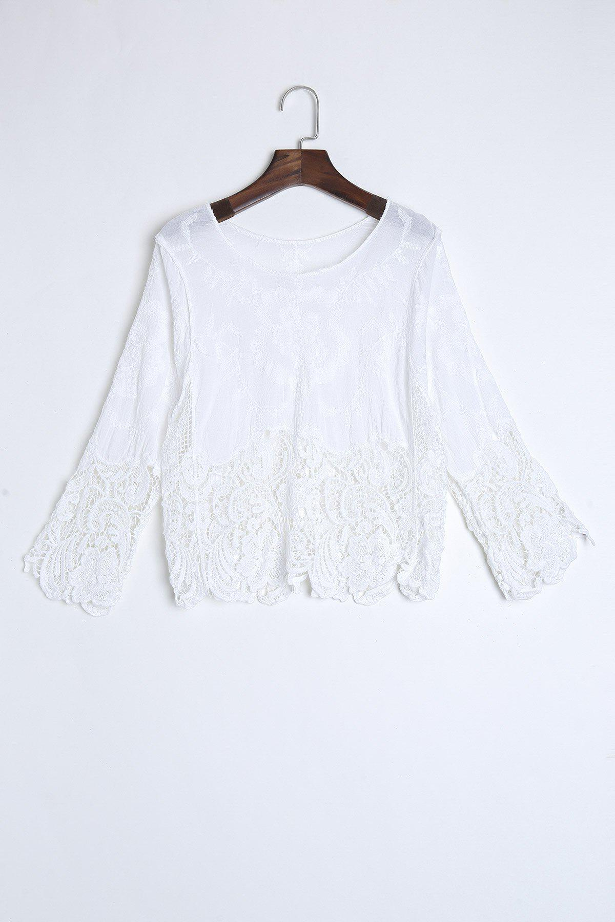 Chic Hollow Out Scoop Neck Batwing Sleeve Women's Cover Up