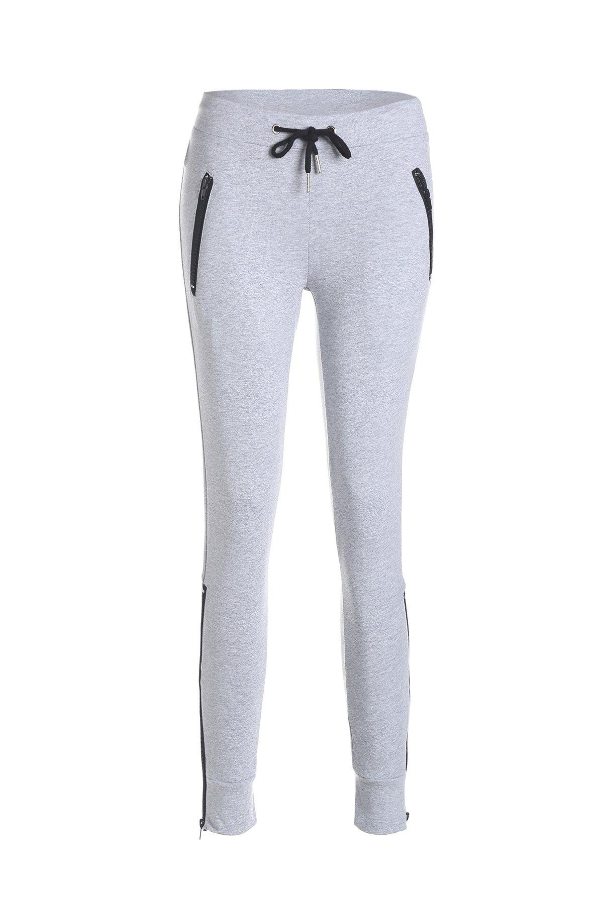 Active Women's Self-Tie Grey Pants - GRAY M
