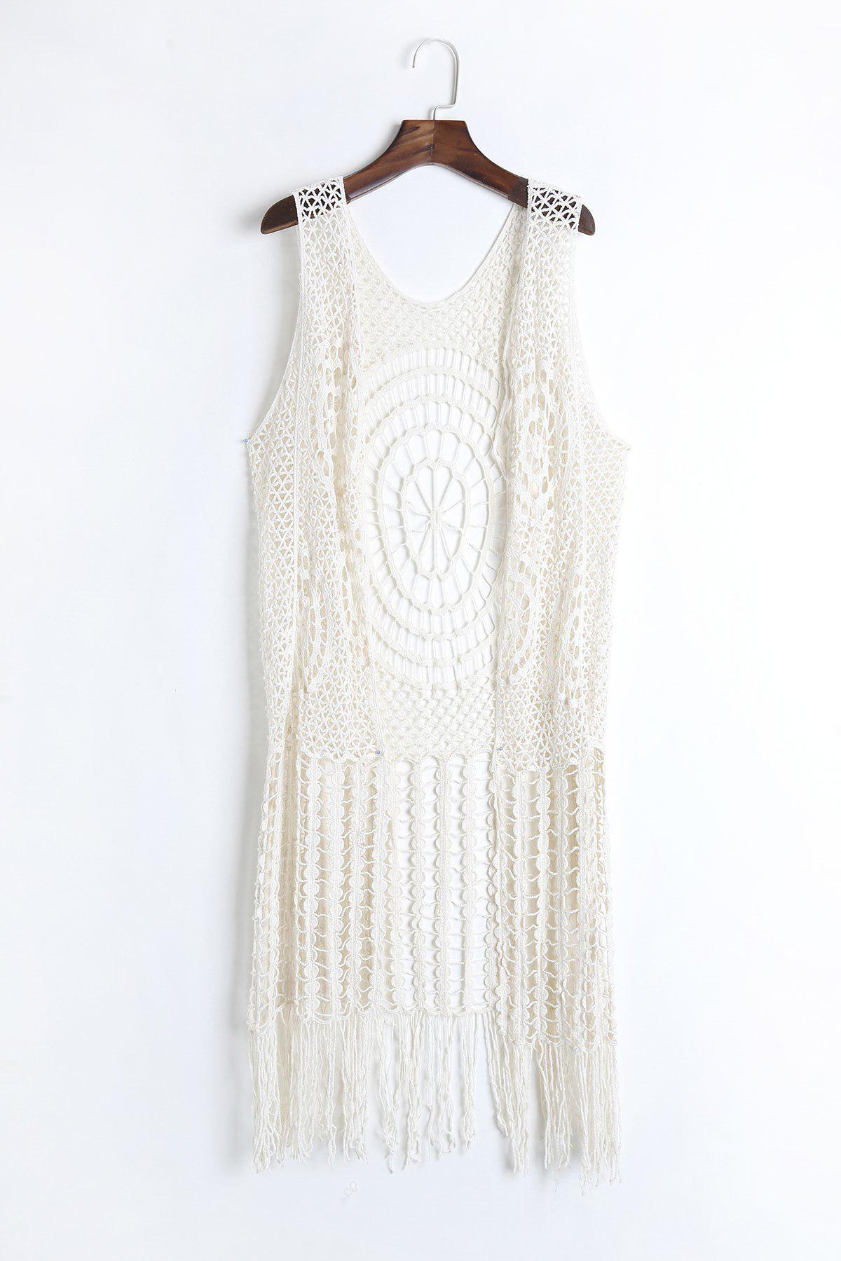 Bohemian Fringed Sleeveless Cut Out Women's Cover Up - OFF WHITE ONE SIZE(FIT SIZE XS TO M)