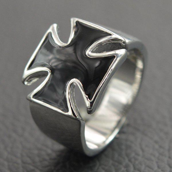 Punk Wide Glaze Cross Ring For Men - SILVER ONE-SIZE