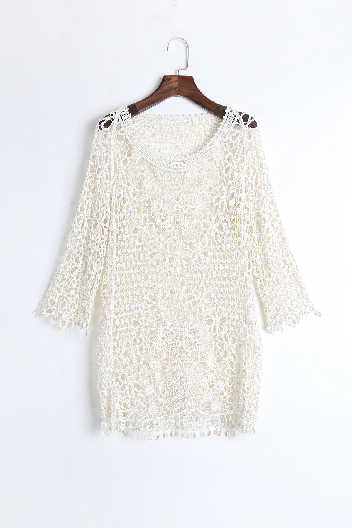 Chic 3/4 Sleeve Scoop Neck Pure Color Hollow Out Women's Cover Up - OFF WHITE ONE SIZE(FIT SIZE XS TO M)