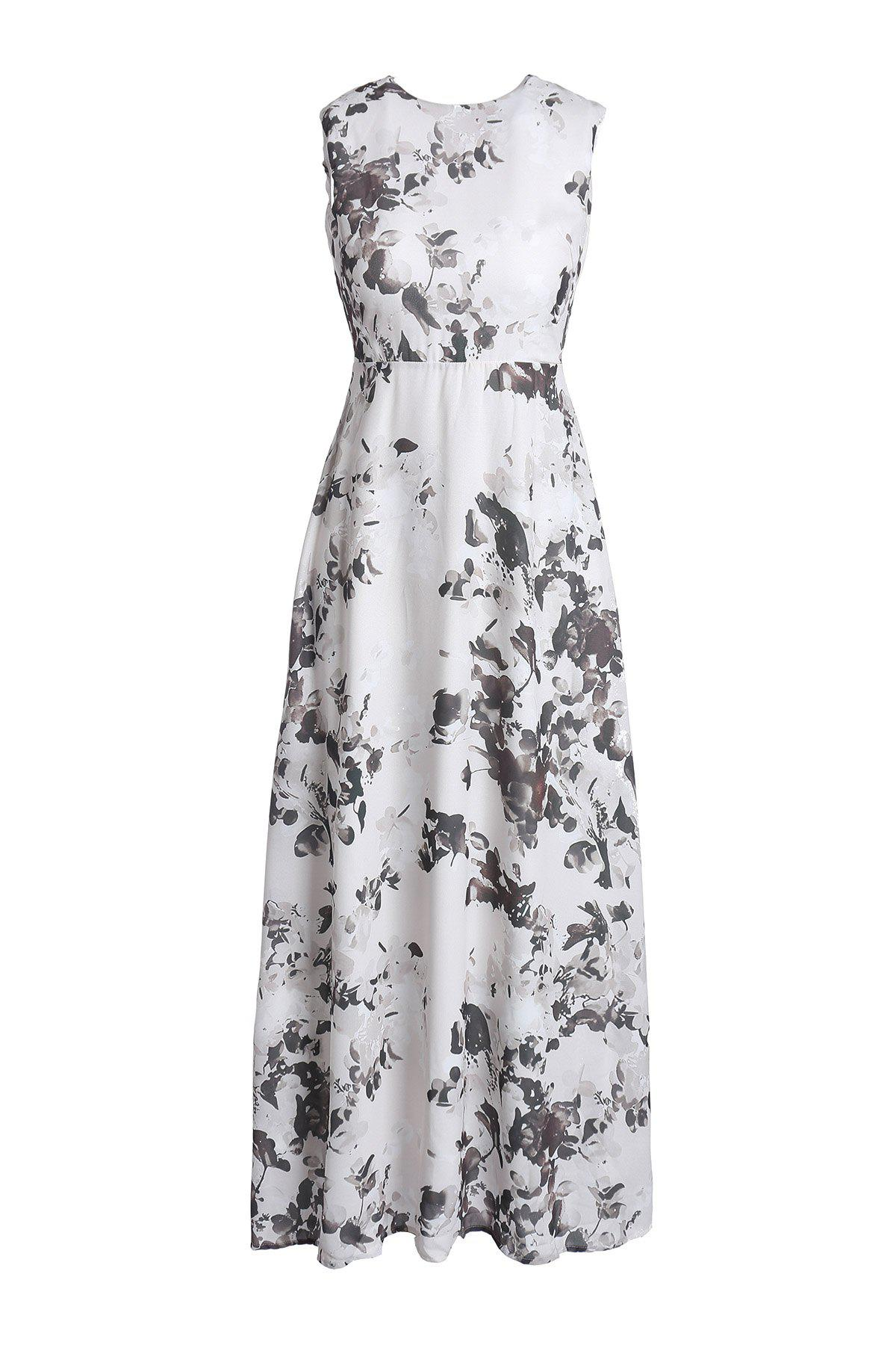 Alluring Women's Jewel Neck Sleeveless Printed Backless Maxi Dress - WHITE L
