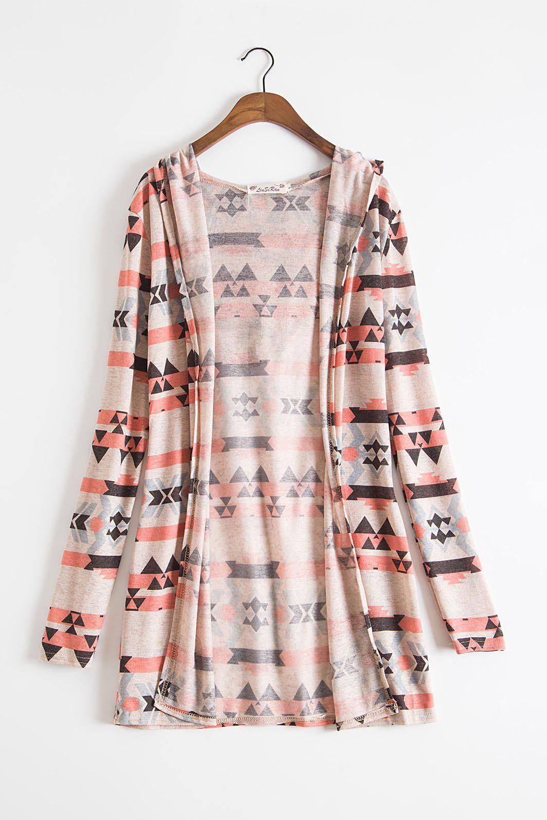 2018 Ethnic Style Colorful Print Hooded Long Sleeve Thin Cardigan ...