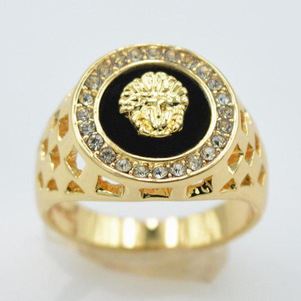 Rhinestoned Embossed Lion Head Hollowed Ring - GOLDEN ONE-SIZE