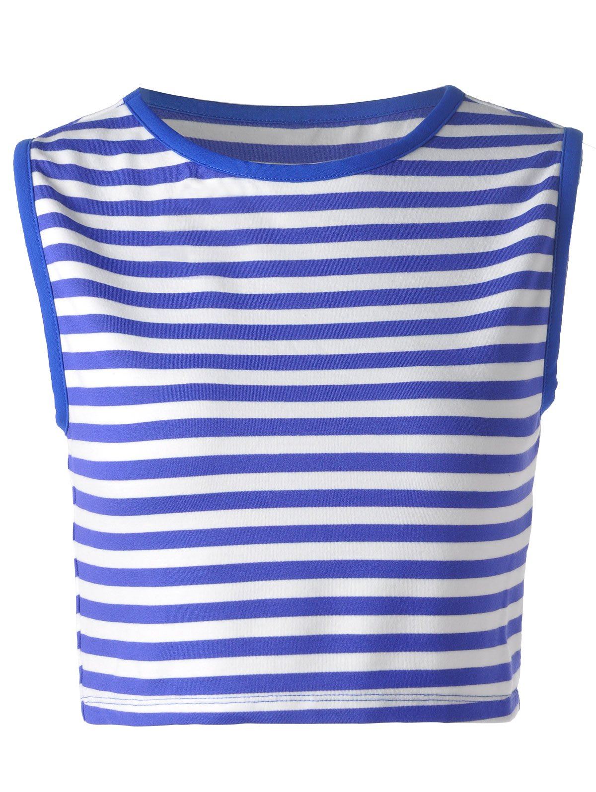 Trendy Blue and White Striped Tank Top For Women - BLUE/WHITE XL