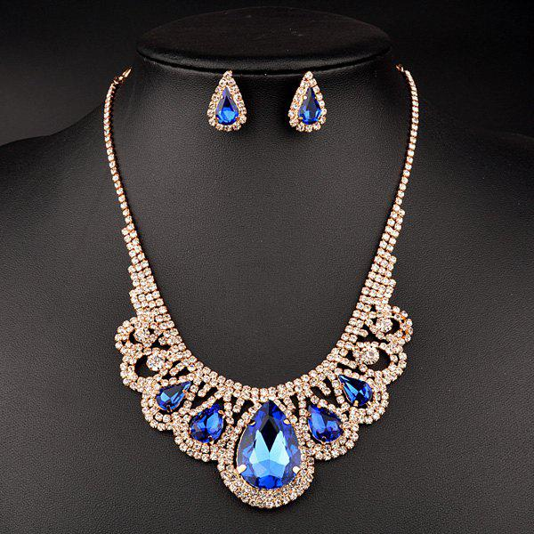 A Suit of Hollow Out Water Drop Wedding Jewelry Set - BLUE