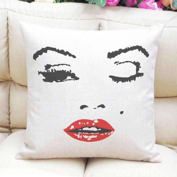 Vintage Style Marilyn Monroe Pattern Square Shape Linen Pillowcase (Without Pillow Inner) - WHITE