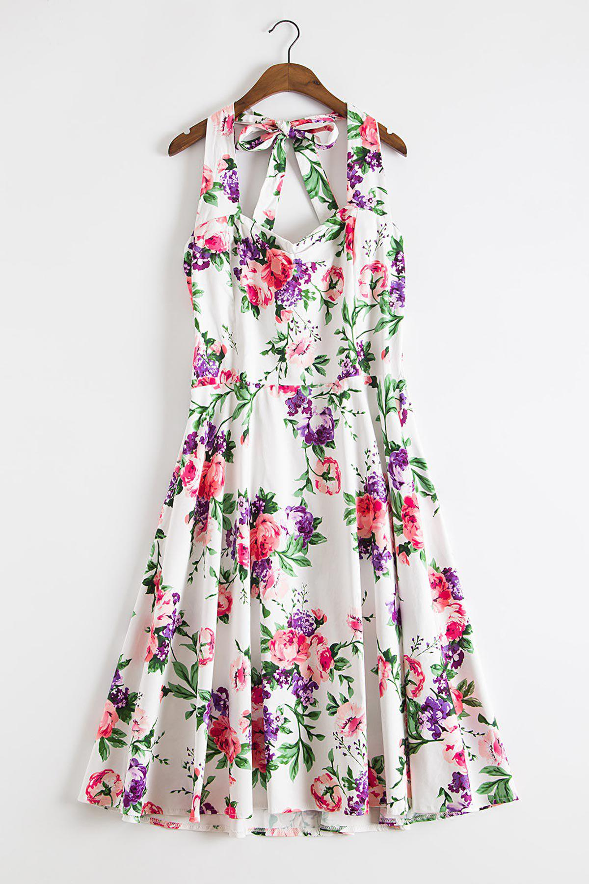 Endearing Halter Sleeveless Floral Printed High Waist Ball Gown Dress For Women - PURPLE 2XL