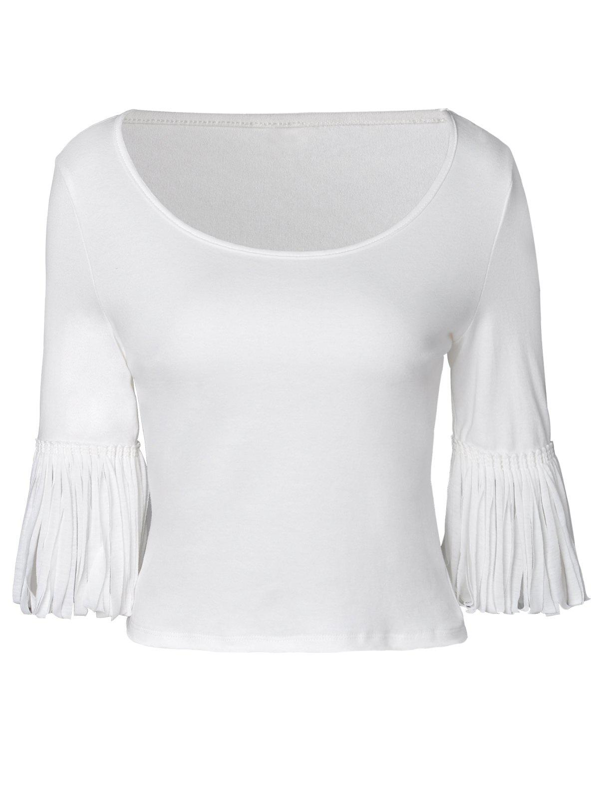 Elegant Knit Half Sleeve Render T-Shirt For Women - WHITE M