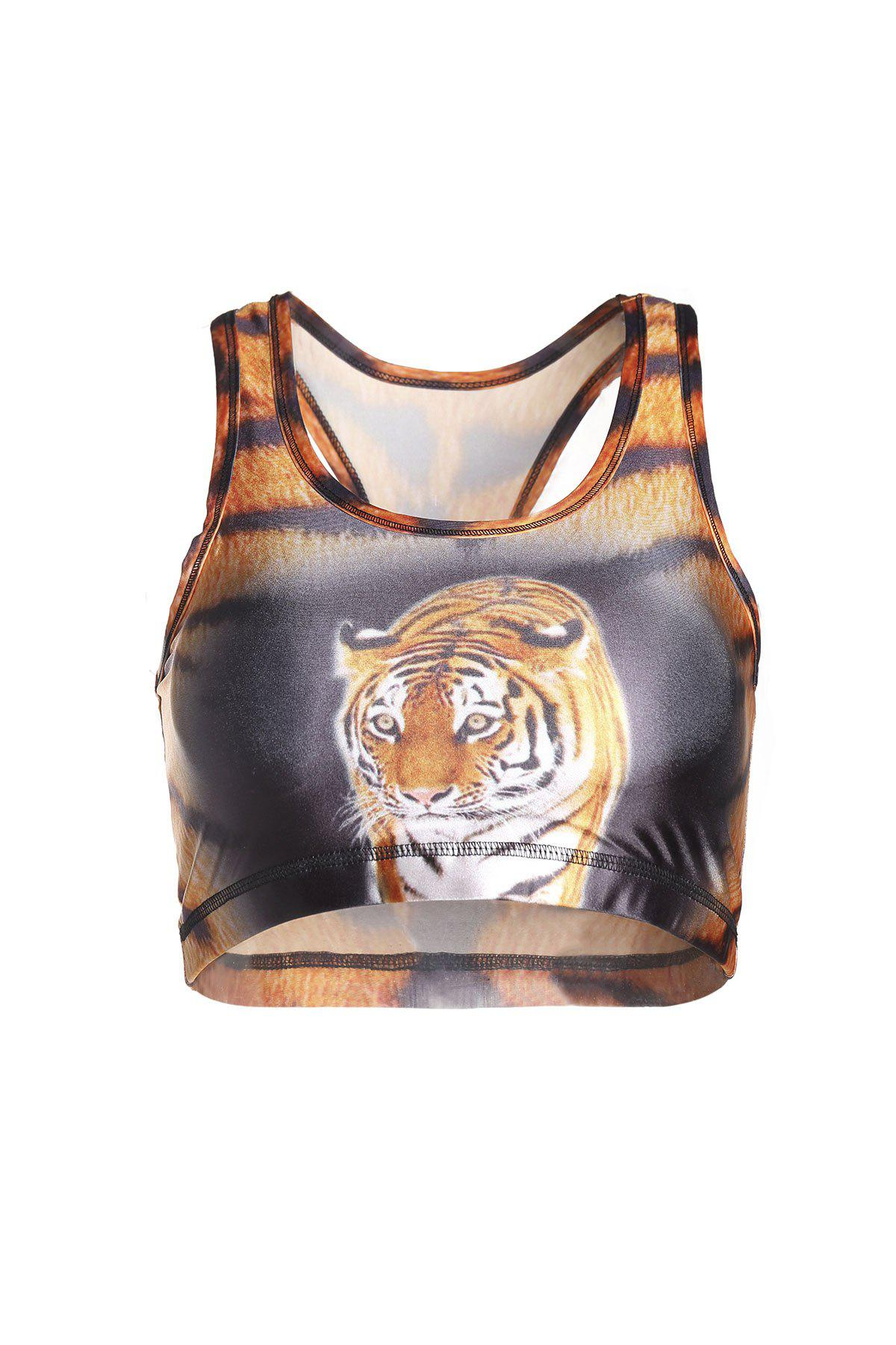 Stylish U Neck Tiger Printed Tank Top For Women funssor diy ultimaker 2 print head kit 3 d printer 0 4mm nozzle hot end assembly kit with 1 meter bowden tube