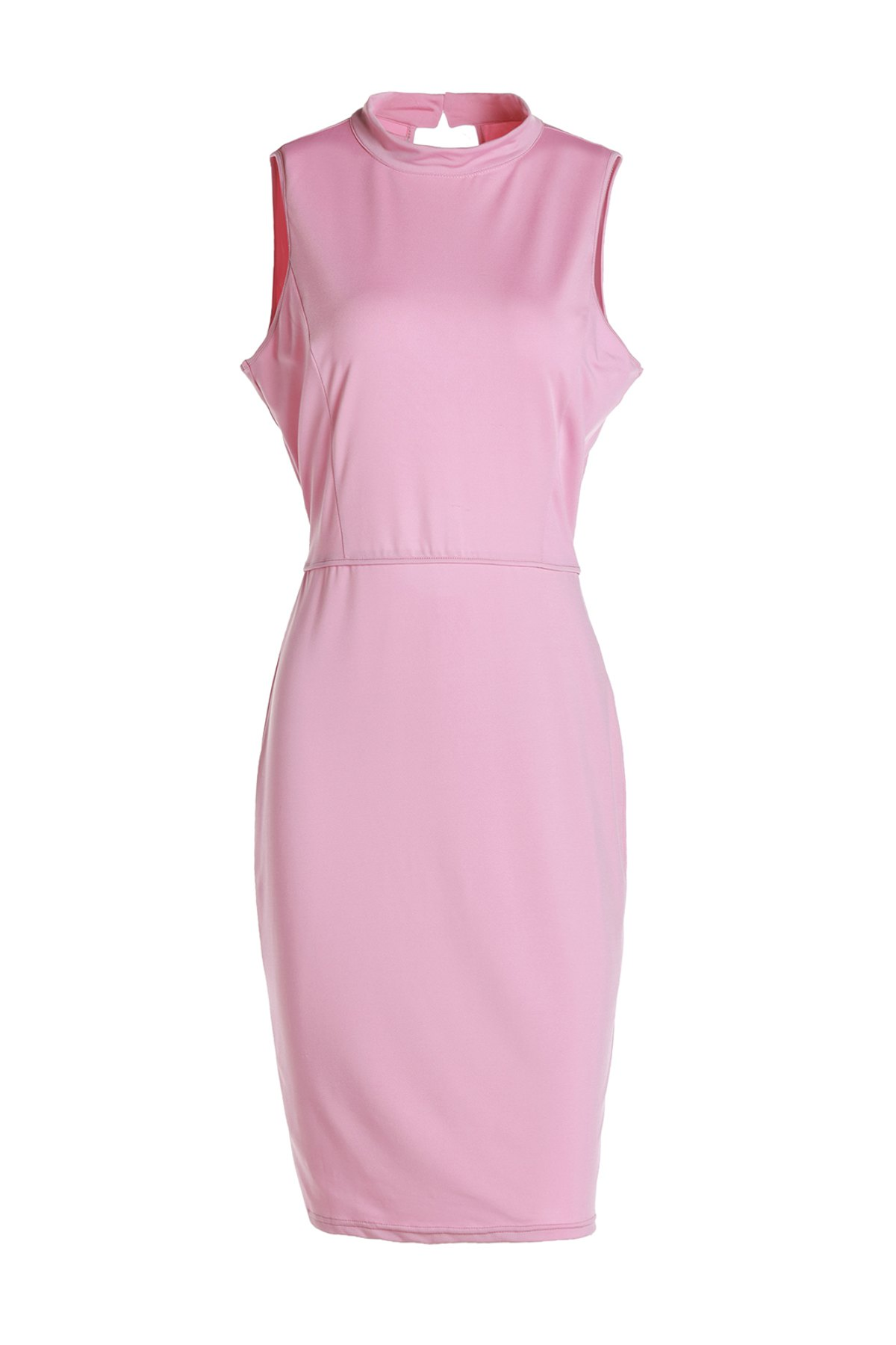Graceful Sleeveless Stand Collar Hollow Out Pink Women's Bodycon Dress - PINK L