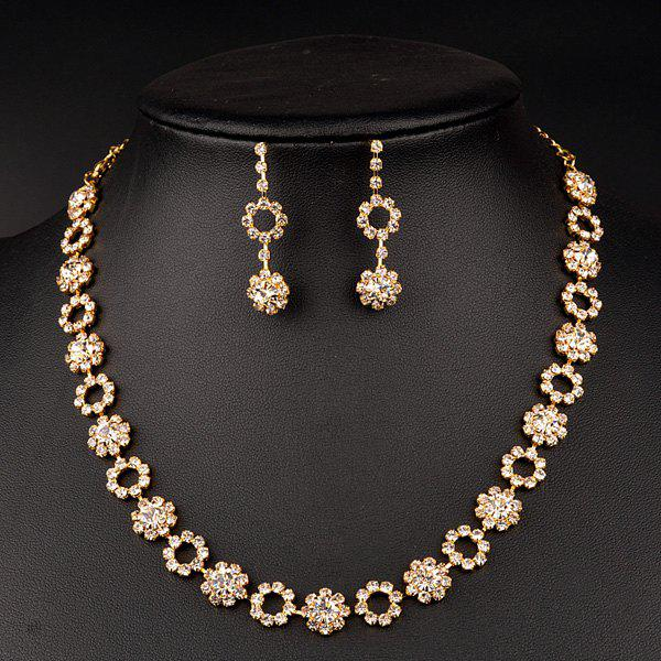 A Suit of Flower Rhinestone Wedding Jewelry Set - GOLDEN