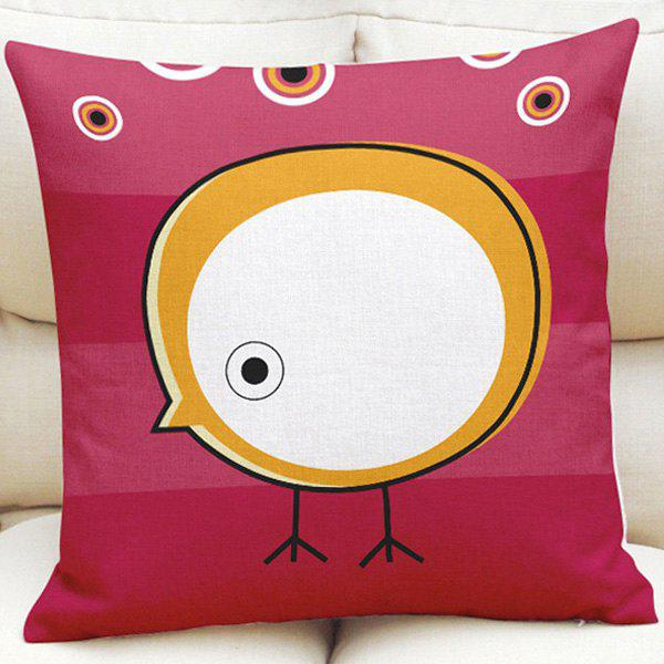 Novelty Cartoon Abstract Chick Pattern Square Shape Linen Pillowcase (Without Pillow Inner) - ROSE MADDER