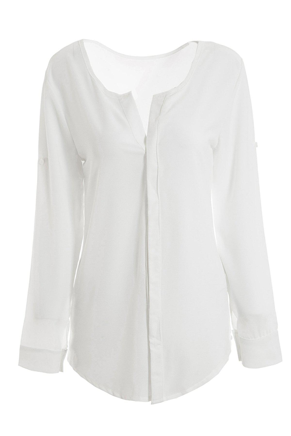 Women's Fashional Solid Color Long Sleeve Chiffon Shirt - WHITE S