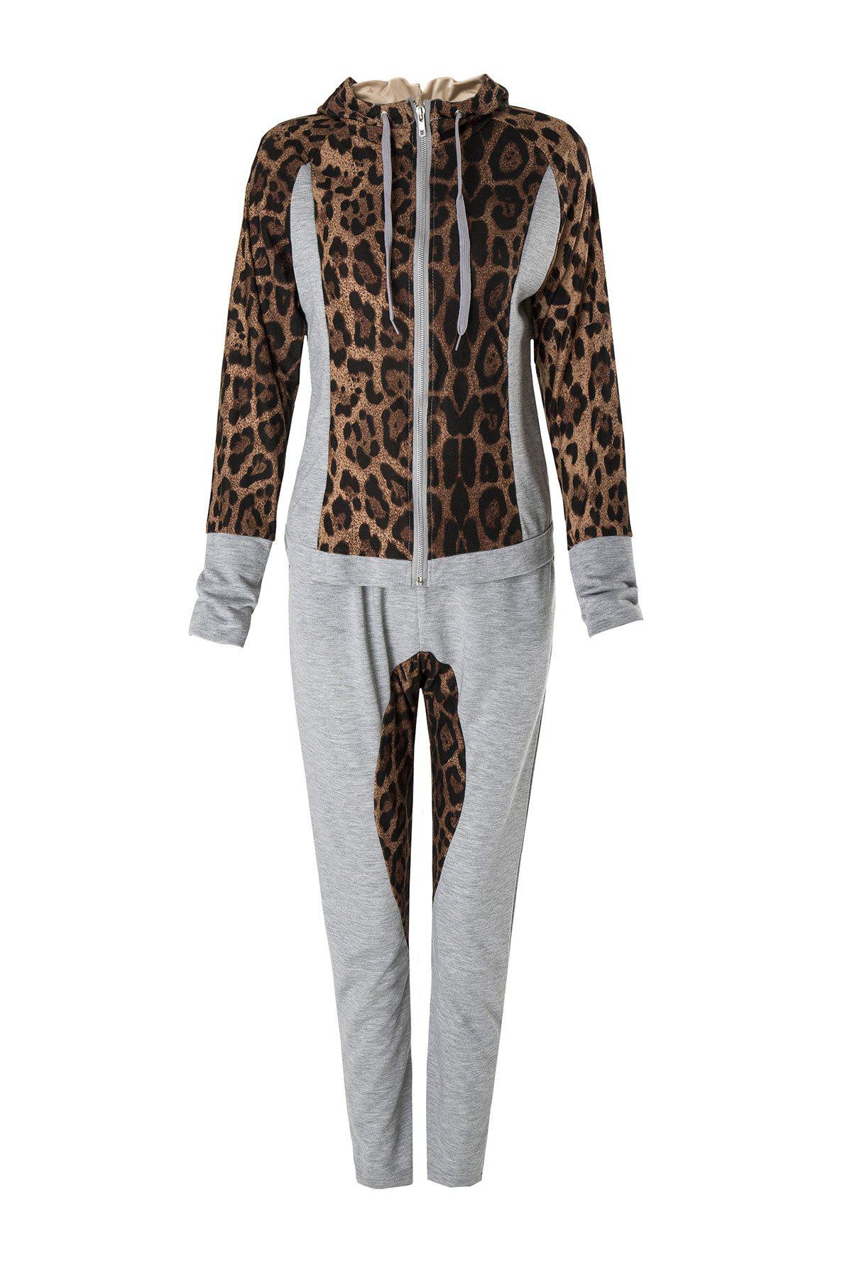 Stylish Long Sleeve Hooded Leopard Print Hoodie + Drawstring Pants Women's Twinset - GRAY L