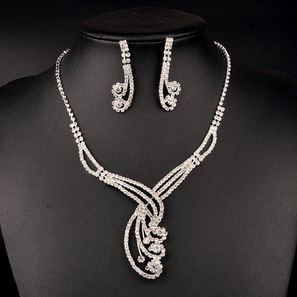 A Suit of Rhinestoned Hollow Out Flower Wedding Jewelry Set - SILVER