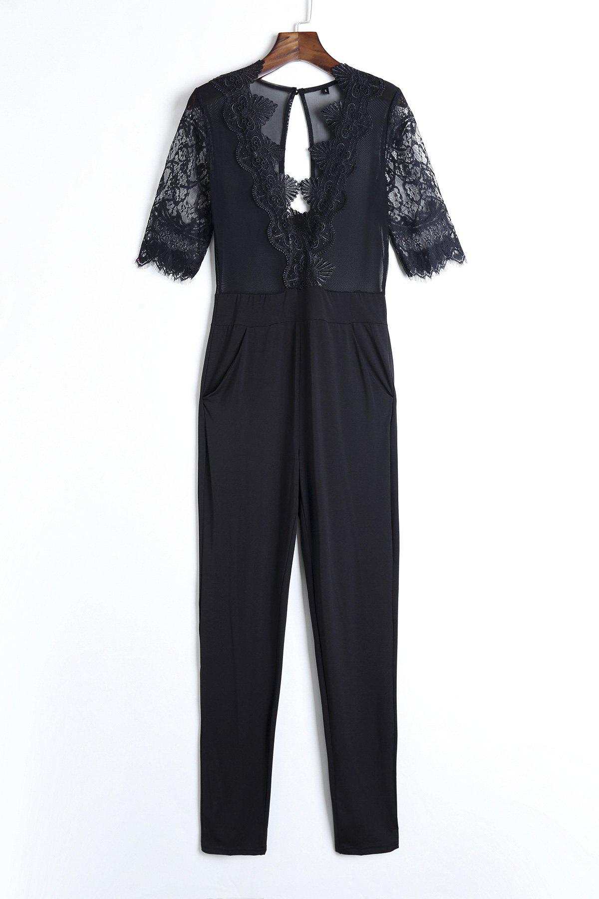 Sexy Plunging Neck Half Sleeve See-Through Lace Splicing Women's Black Jumpsuit - BLACK S