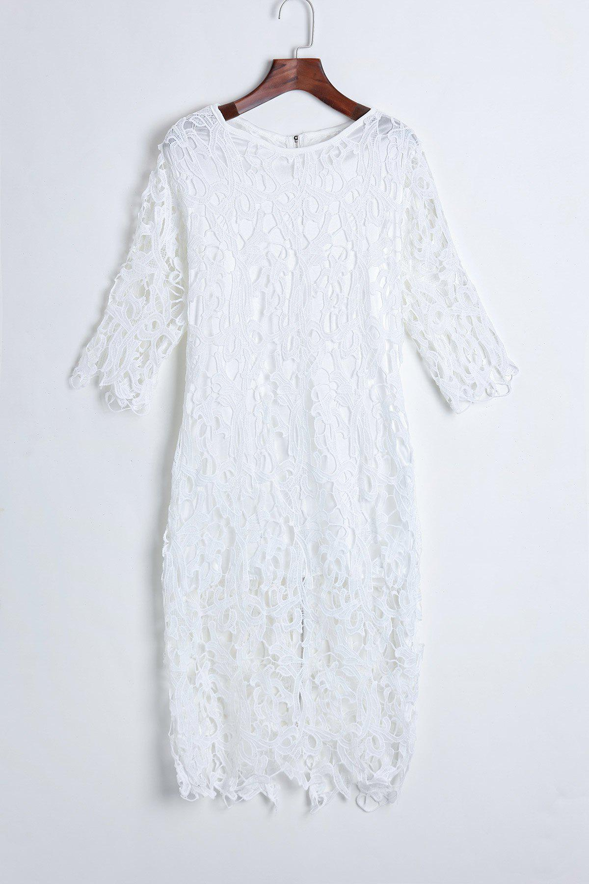 Hollow Out Design Short Sleeve Round Collar Packet Buttock Solid Color Dress - M WHITE