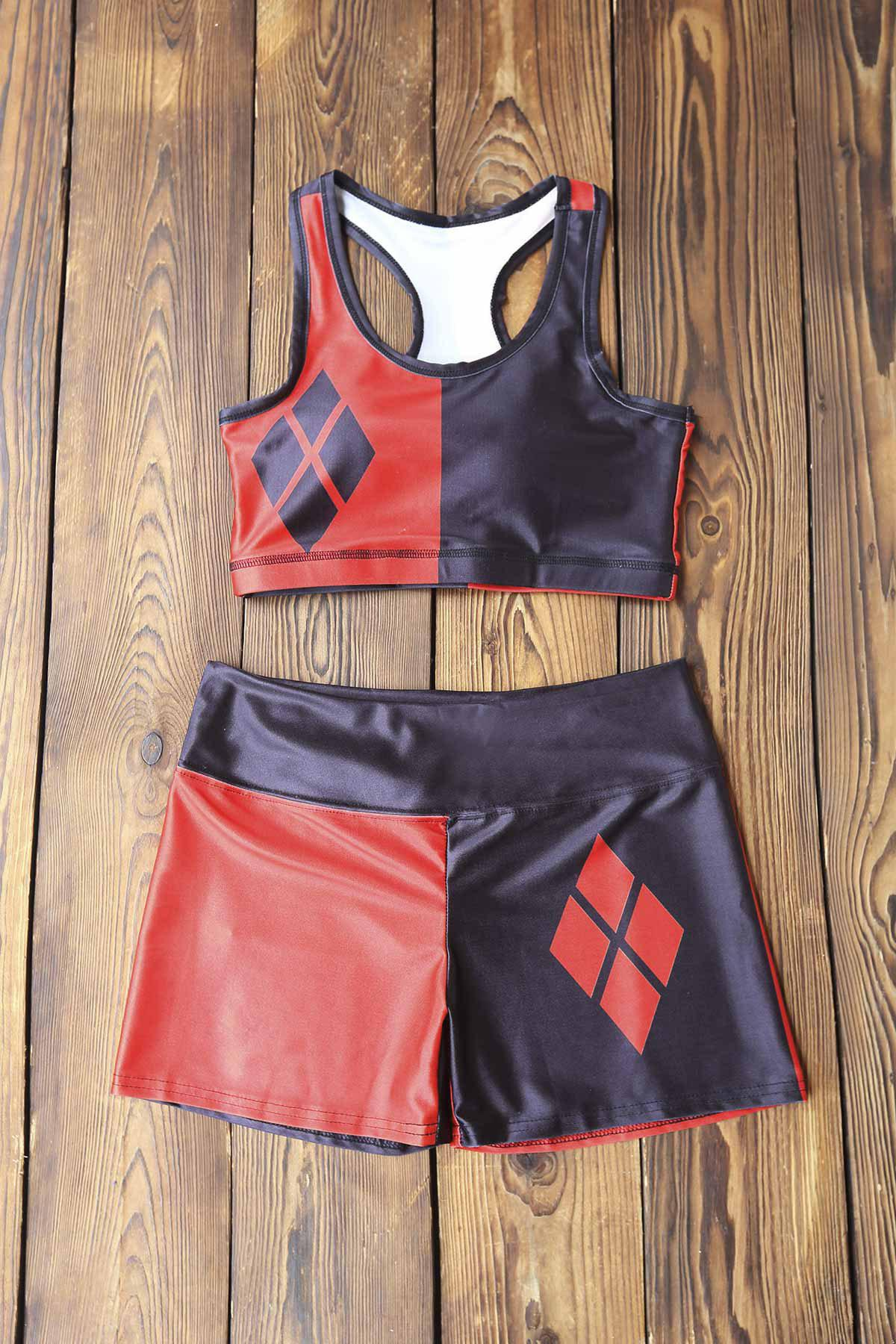 Stylish Women's U Neck Color Block Tank Top and Shorts Suit - RED/BLACK M