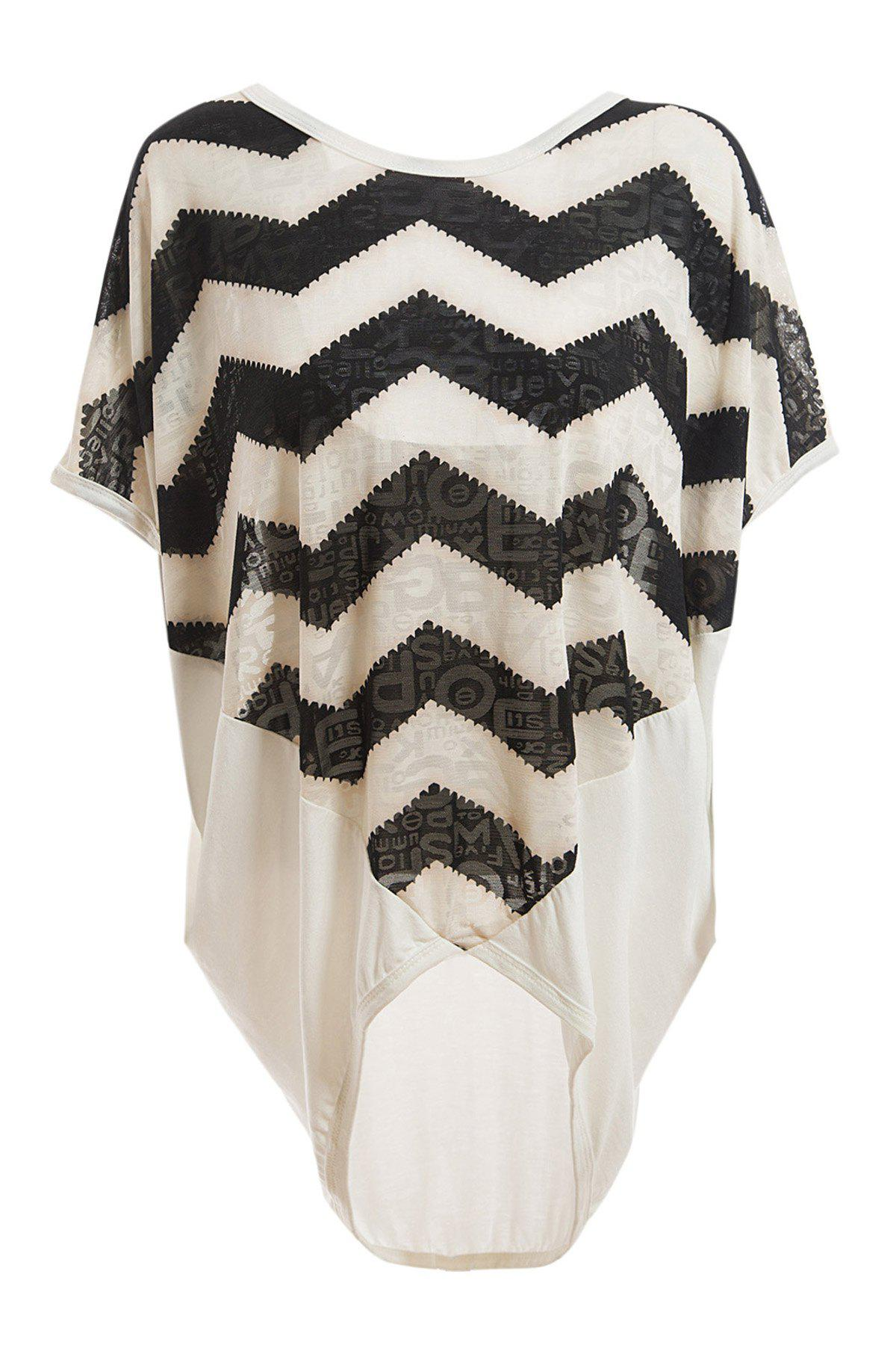 Women's Loose-Fitting Scoop Neck Sawtooth Print Batwing Sleeve Blouse - WHITE L