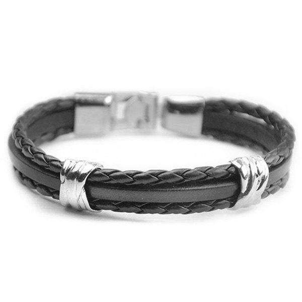 Vintage Multilayer Knitted PU Leather Chain Strand Bracelet For Men stylish multilayer pu leather knitted rope bracelet for men