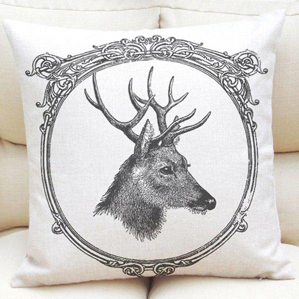 Simple Pencil Sketch Deer Pattern Square Shape Linen Pillowcase (Without Pillow Inner) - WHITE