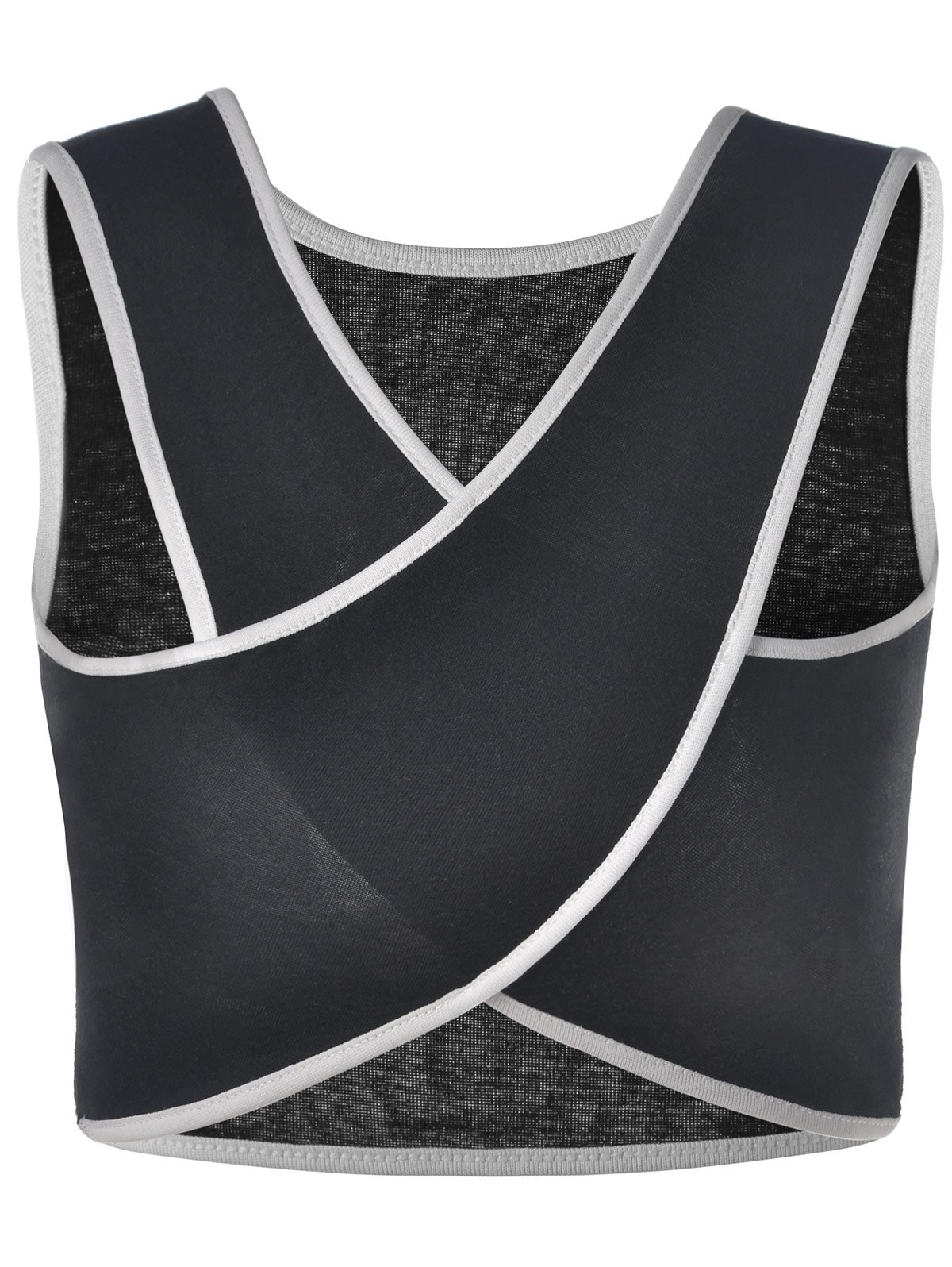 Casual Women's V-Neck Overlapping Sleeveless Crop Top - ONE SIZE(FIT SIZE XS TO M) BLACK