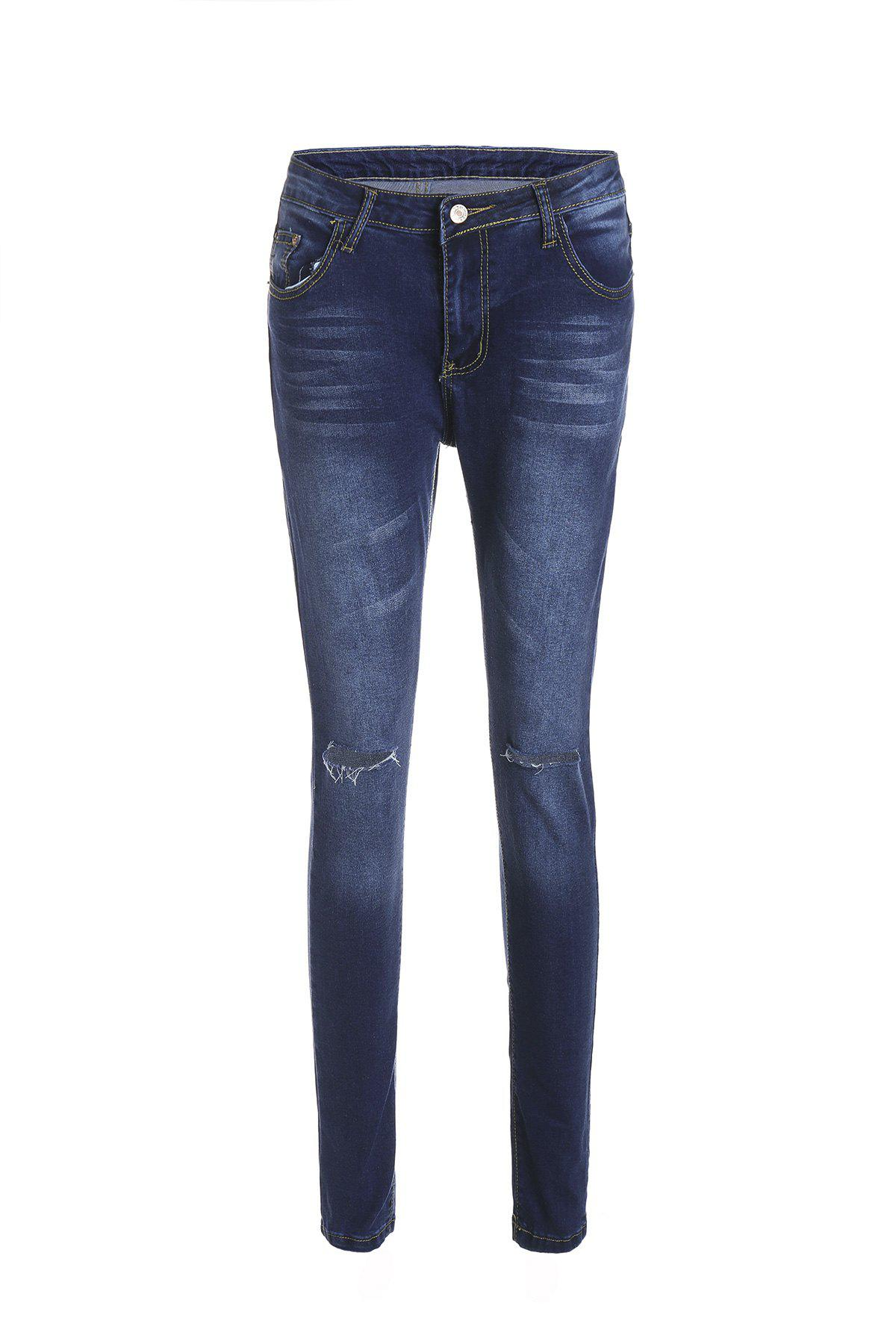 Stylish High-Waisted Skinny Ripped Women's Jeans - DEEP BLUE XL