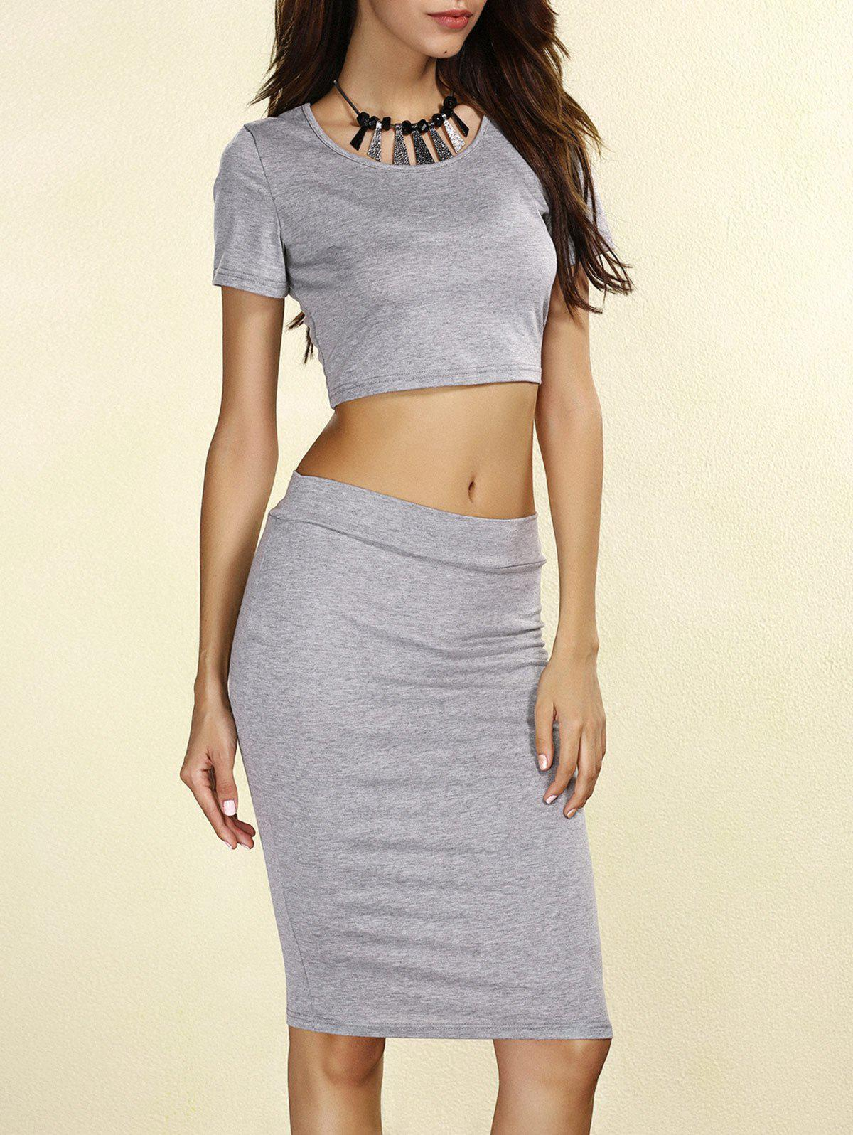 High Rise Two Piece Bodycon Dress - GRAY S