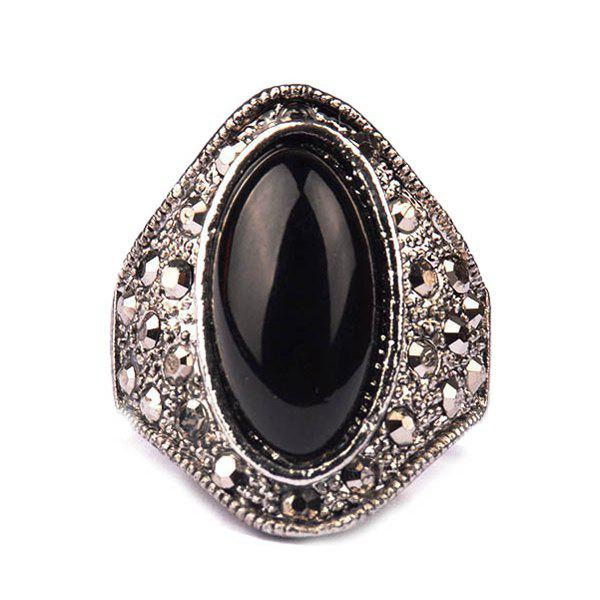 Punk Style Faux Gemstone Ring For Men - BLACK ONE-SIZE