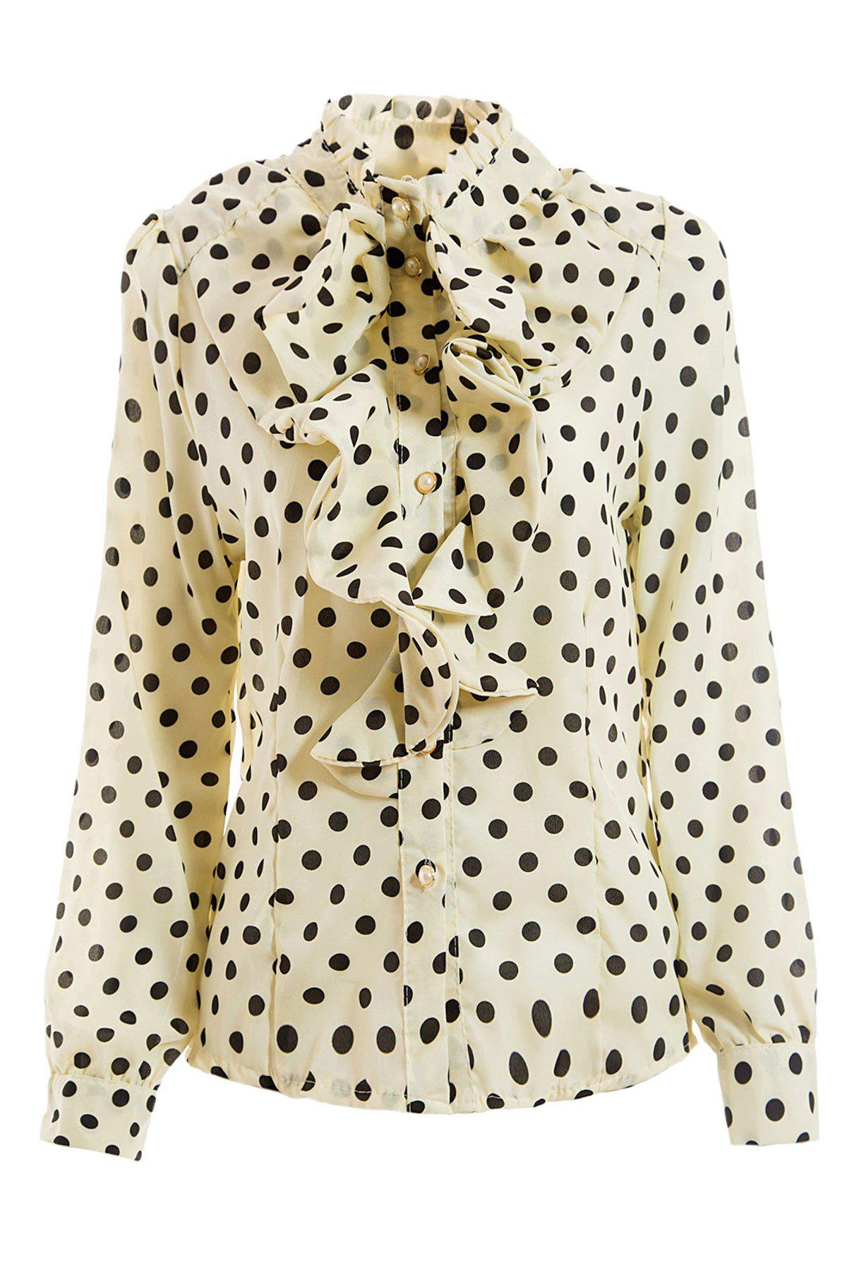 Elegant Style Stand Collar Polka Dot Flouncing Embellished Long Sleeve Chiffon Women's Shirt - WHITE M