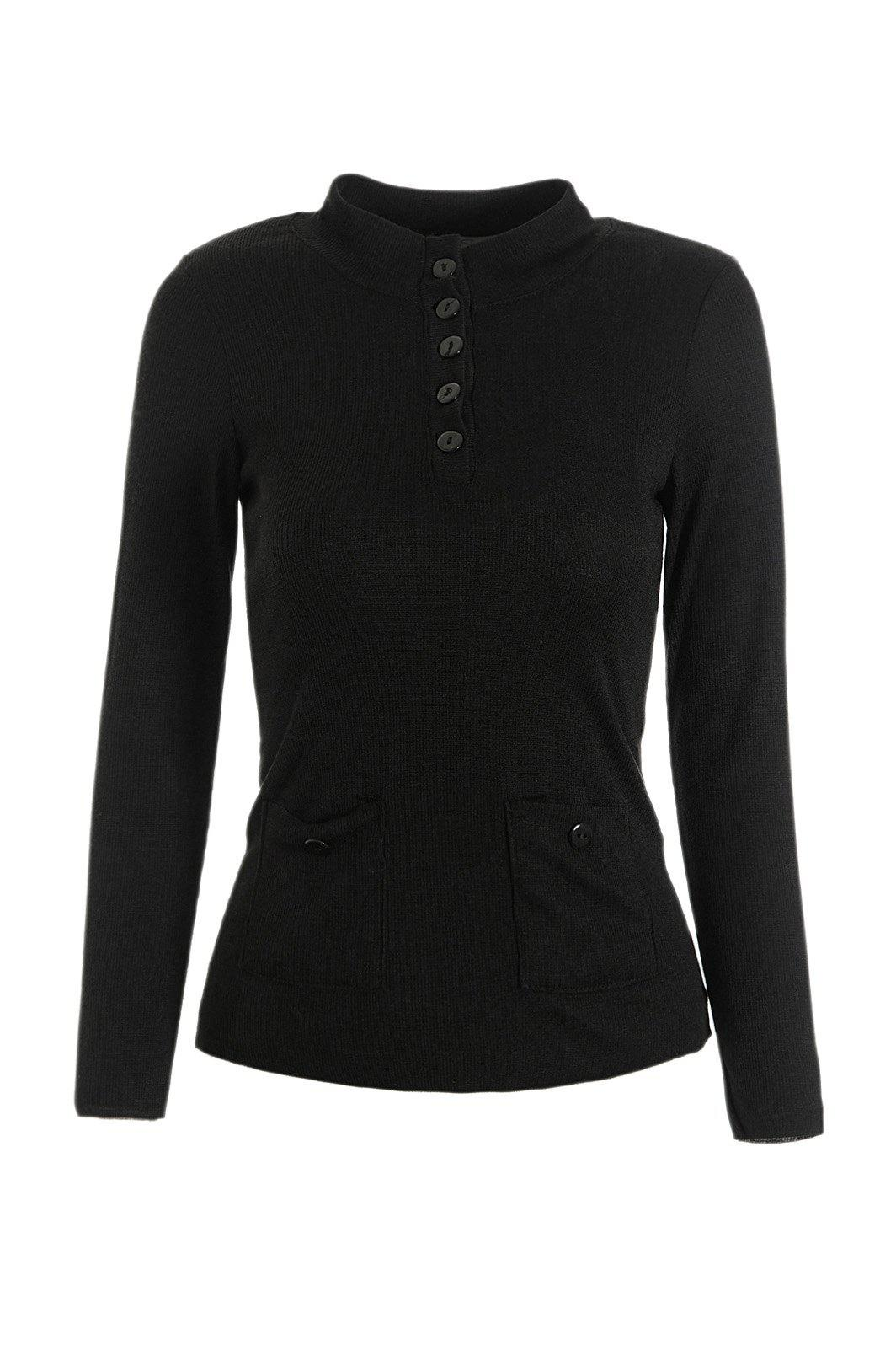 Stylish Long Sleeve Stand Collar Buttoned Solid Color Womens Slimming KnitwearWomen<br><br><br>Size: S<br>Color: BLACK