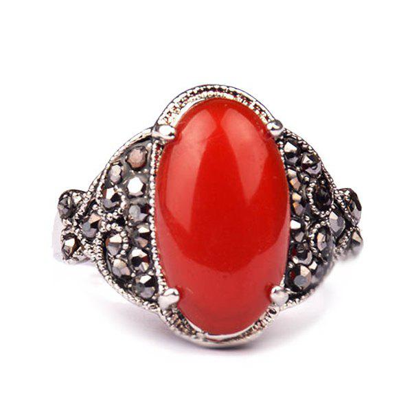 Punk Style Faux Gemstone Geometric Ring Jewelry For Men - RED ONE-SIZE