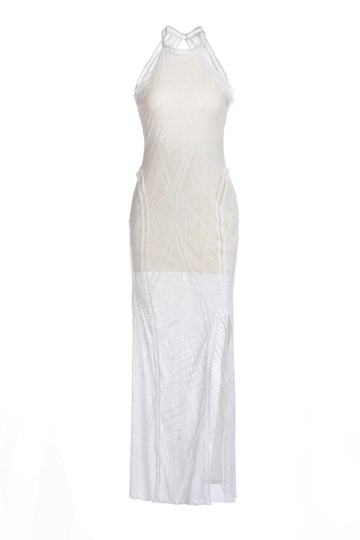 Sexy Jewel Neck Sleeveless Open Back Solid Color Women's Slit Dress - WHITE ONE SIZE(FIT SIZE XS TO M)