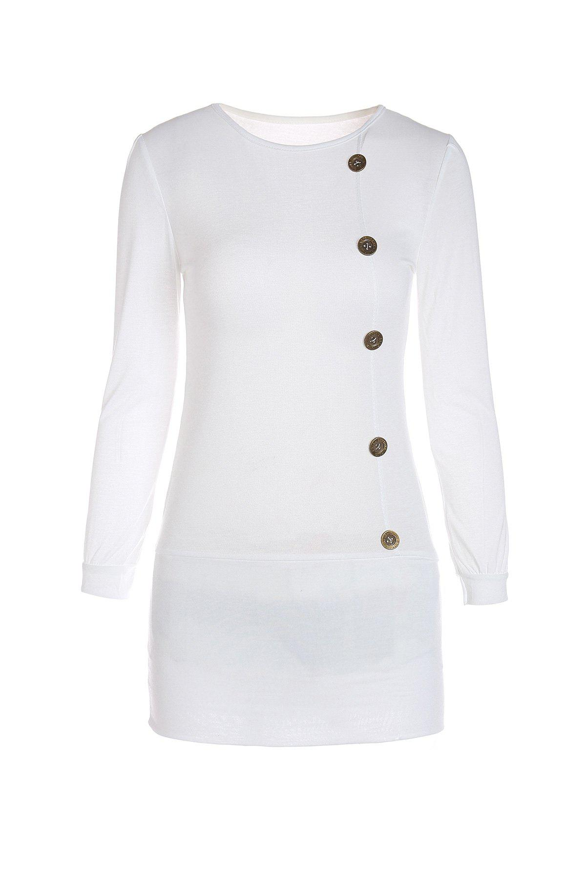 Stylish Scoop Neck Long Sleeve Single-Breasted Solid Color Women's Dress - WHITE M