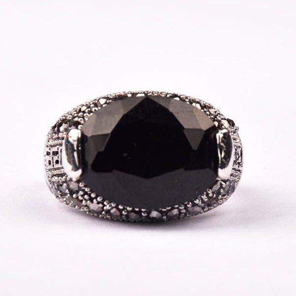 Chic Embellished Faux Gemstone Ring For Men - BLACK ONE-SIZE
