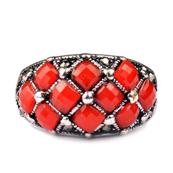 Chic Embellished Faux Gem Ring For Men - RED ONE-SIZE