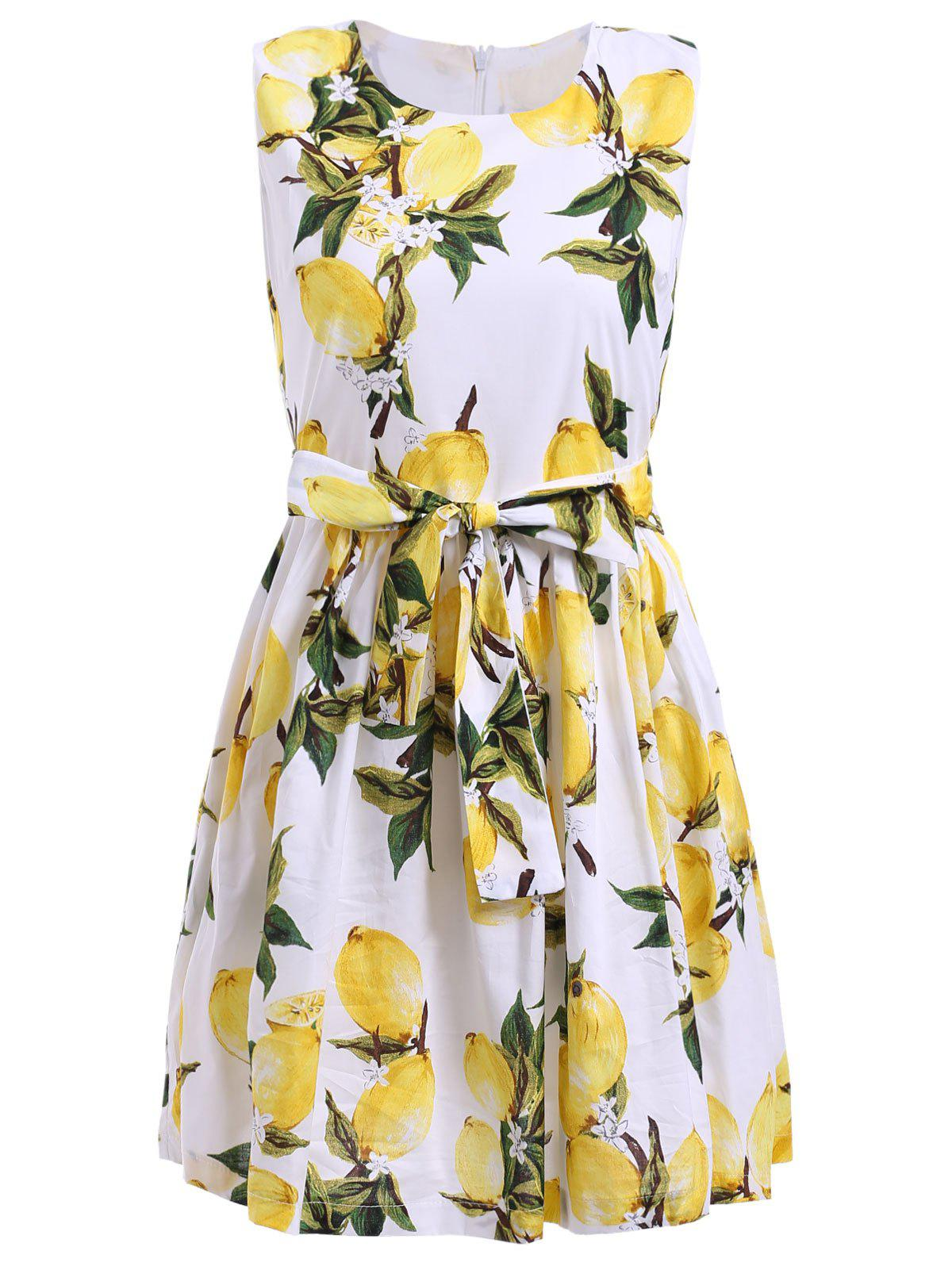 Trendy Sleeveless Lemon Print Bowknot Embellished Mini Dress For Women