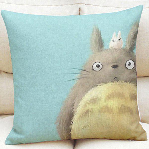 Lovely Cartoon Totoro Pattern Square Shape Linen Pillowcase (Without Pillow Inner) - LIGHT BLUE