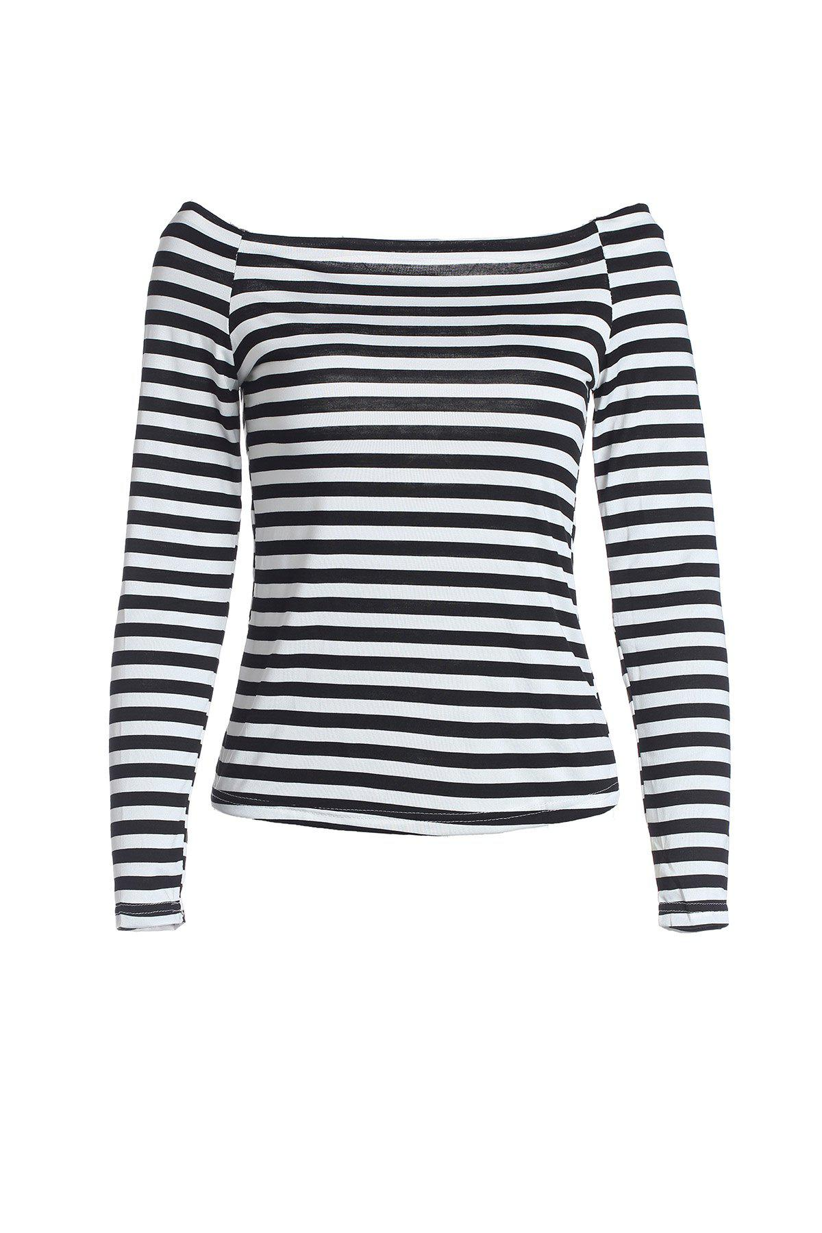 Alluring Off Shoulder Boat Neck Slim Fit Long Sleeve Stretchy Cotton Blend Women's T-Shirt - STRIPES ONE SIZE