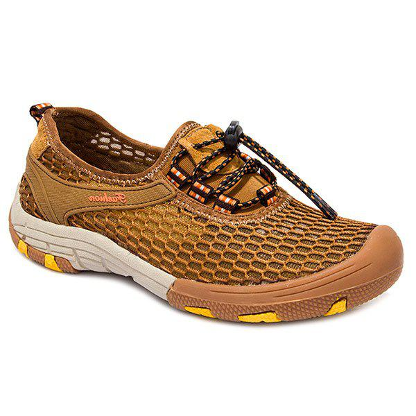 Trendy Mesh and Breathable Design Men's Casual Shoes - LIGHT BROWN 40