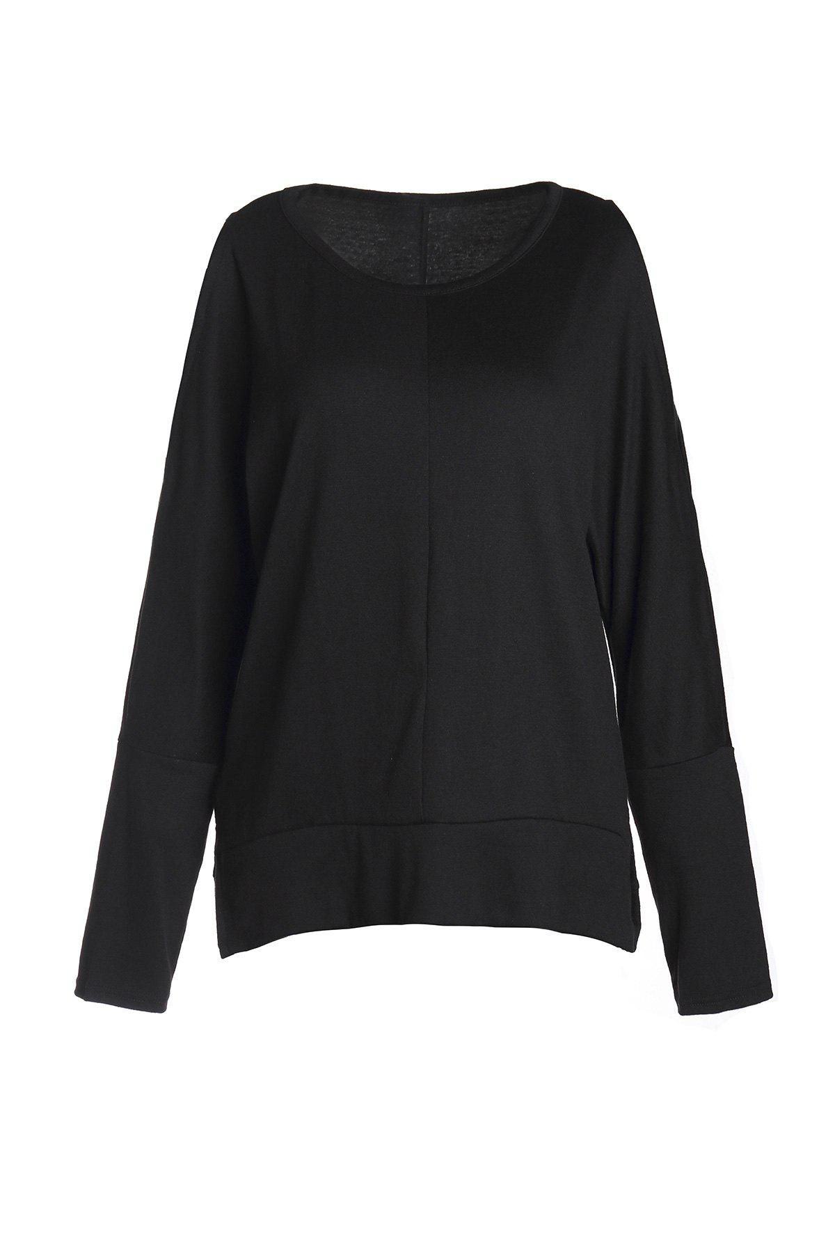 Stylish Women's Scoop Neck Long Sleeve Side Slit Hollow Out T-Shirt - BLACK S