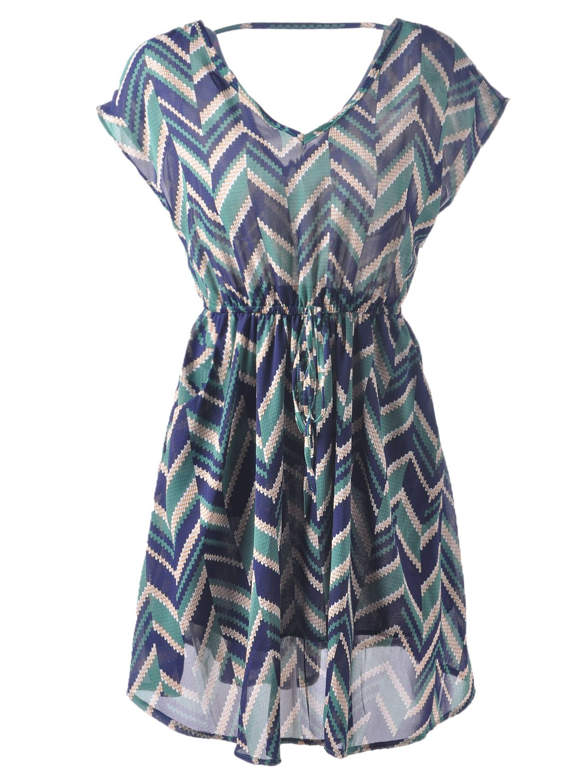 Stylish Women's V-Neck Print Backless Tie Cap Sleeve Mid-Calf Dress - GREEN ONE SIZE(FIT SIZE XS TO M)