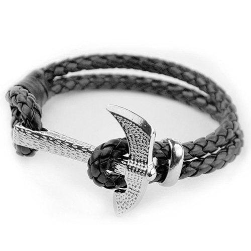 Vintage Axe Multilayer PU Leather Rope Chain Bracelet For Men - BLACK