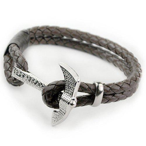 Vintage Axe Multilayer PU Leather Rope Chain Bracelet For Men stylish multilayer pu leather knitted rope bracelet for men