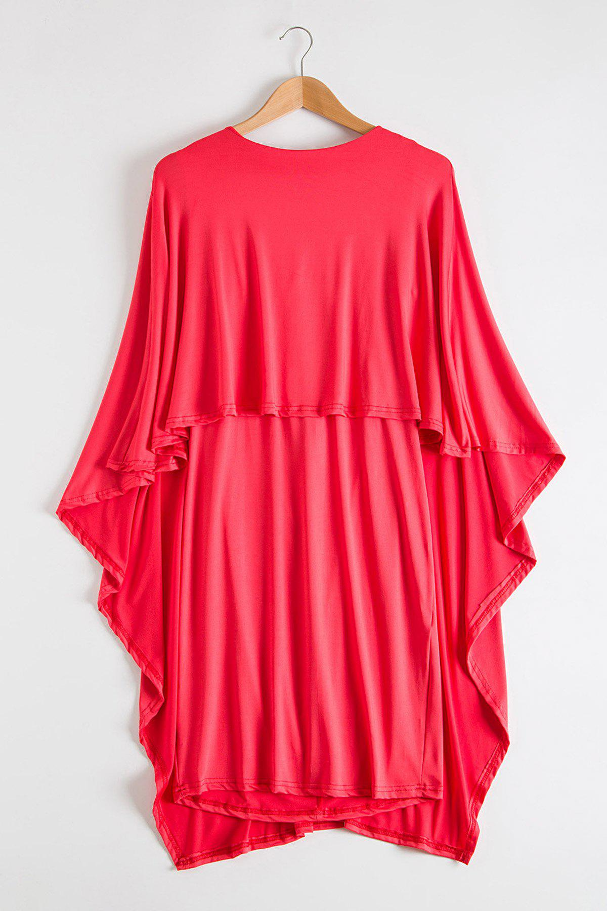 Attractive Bertha Collar Backless Solid Color Bodycon Cape Dress For Women - WATERMELON RED XL