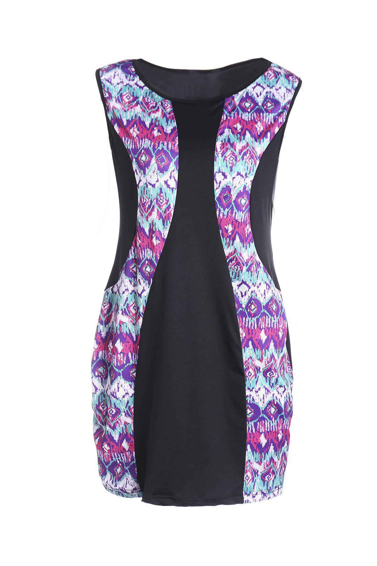 Ethnic Style Colorful Printed Jewel Neck Sleeveless Boydcon Dress For Women - COLORMIX 2XL