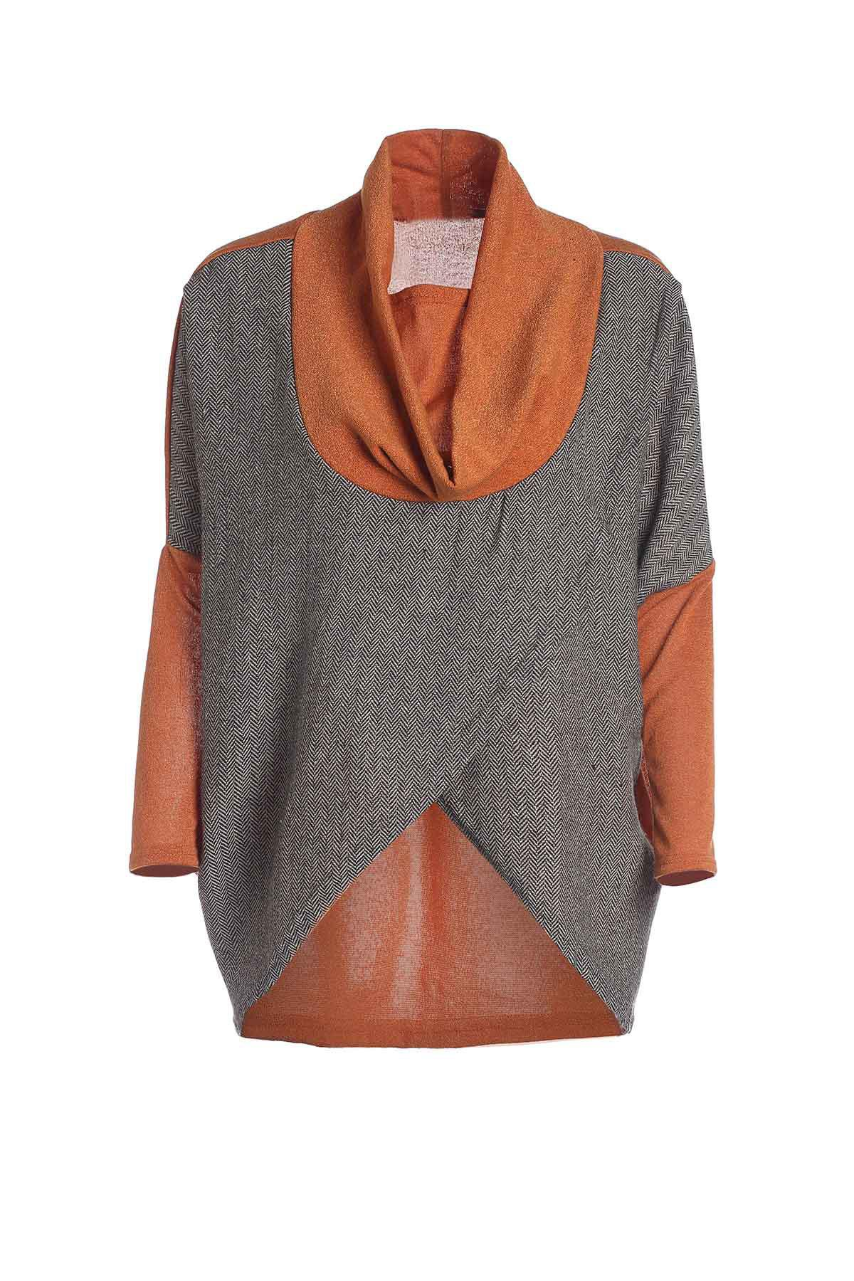 Stylish Cowl Neck Long Sleeves Color Match Batwing Irregular Design Cotton Blend Women's Sweater